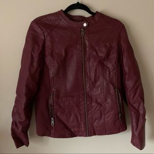 Red vegan leather jacket
